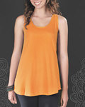 Juniors Fine Jersey Racer Back Longer Length Shirt Tail Tank
